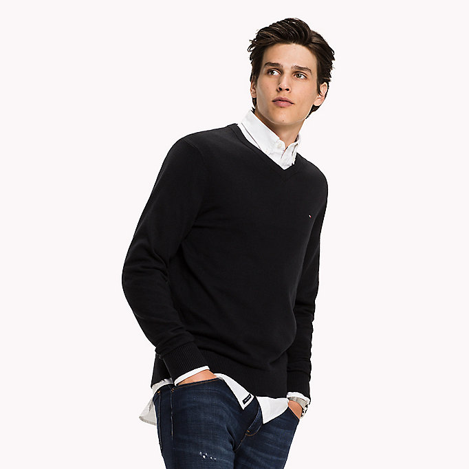 TOMMY HILFIGER Pima Cotton Cashmere Jumper - OYSTER GREY HTR - TOMMY HILFIGER Clothing - main image