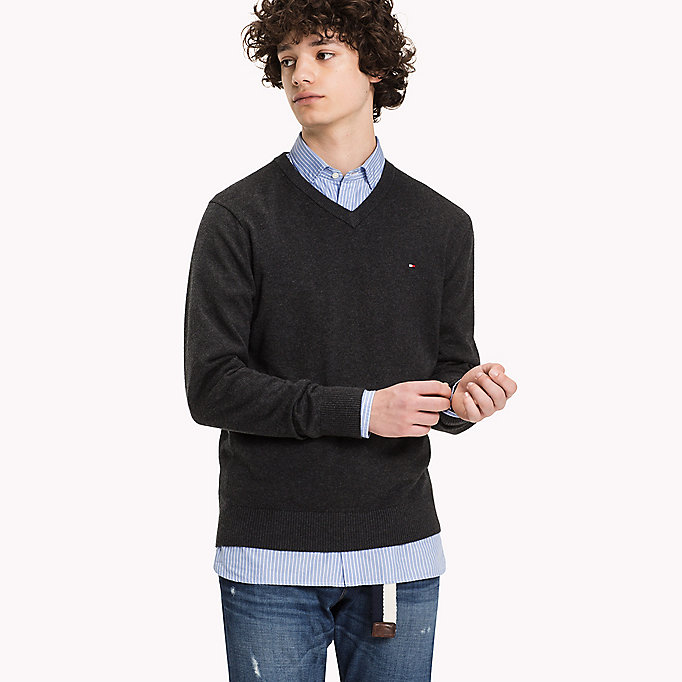 TOMMY HILFIGER Pima Cotton Cashmere Jumper - DARKEST SPRUCE HEATHER - TOMMY HILFIGER Clothing - main image