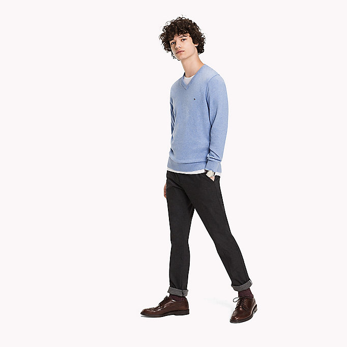 TOMMY HILFIGER Pima Cotton Cashmere Jumper - ENSIGN BLUE HEATHER - TOMMY HILFIGER Clothing - main image