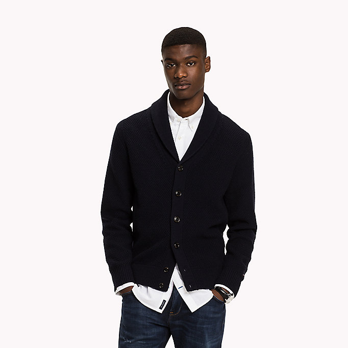 TOMMY HILFIGER Lambswool Shawl Cardigan - MONK'S ROBE HEATHER - TOMMY HILFIGER Clothing - main image