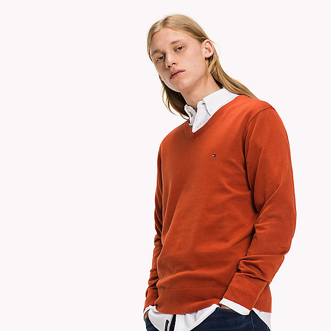 TOMMY HILFIGER Luxury Cotton V-neck Jumper - MONUMENT HEATHER - TOMMY HILFIGER Clothing - detail image 2