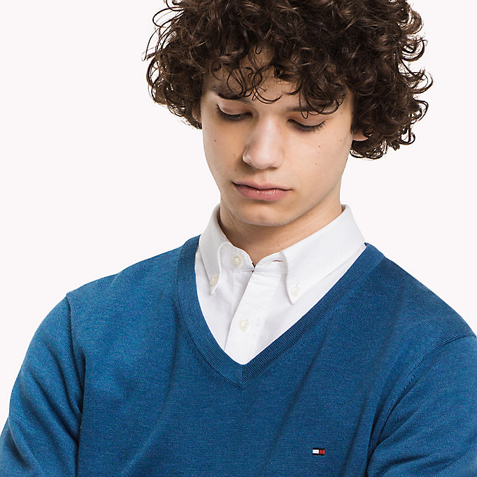 TOMMY HILFIGER Luxury Cotton V-neck Jumper - ROOIBOS TEA HEATHER - TOMMY HILFIGER Clothing - detail image 2