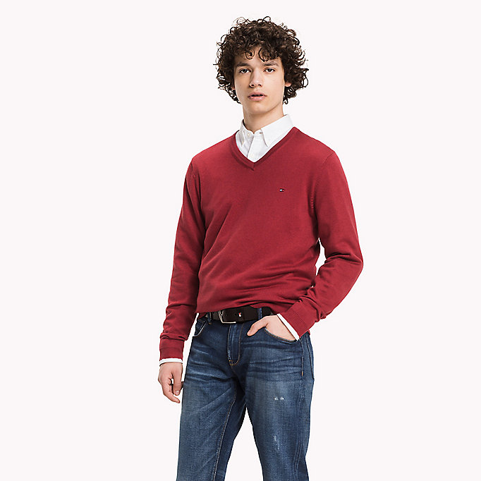TOMMY HILFIGER Luxury Cotton V-neck Jumper - DARK BLUE HEATHER - TOMMY HILFIGER Clothing - main image