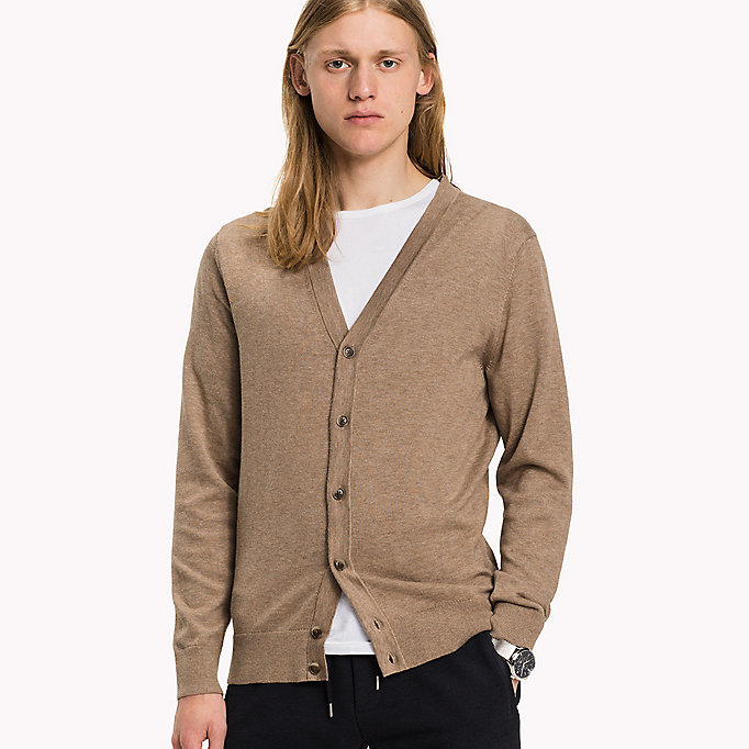 TOMMY HILFIGER Plaited V-Neck Cotton-Silk Cardigan - MAGNET HEATHER - TOMMY HILFIGER Clothing - main image