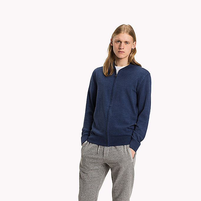 TOMMY HILFIGER Silk Blend Zip-Through  Jumper - ESTATE BLUE HTR - TOMMY HILFIGER Clothing - main image