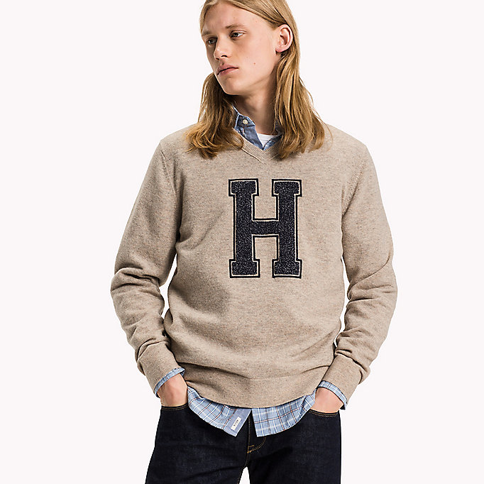 TOMMY HILFIGER Lamswollen trui met logo - SKY CAPTAIN HEATHER - TOMMY HILFIGER Kleding - detail image 2