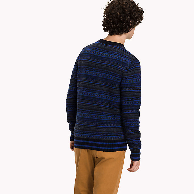 TOMMY HILFIGER Lambswool Intarsia Jumper - SILVER FOG HTR - TOMMY HILFIGER Clothing - detail image 1