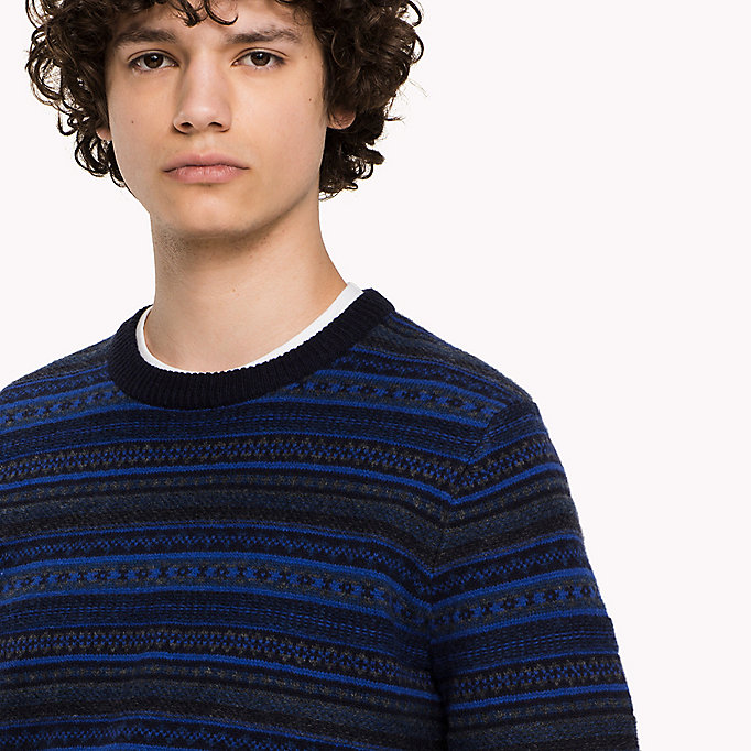 TOMMY HILFIGER Lambswool Intarsia Jumper - SILVER FOG HTR - TOMMY HILFIGER Clothing - detail image 2