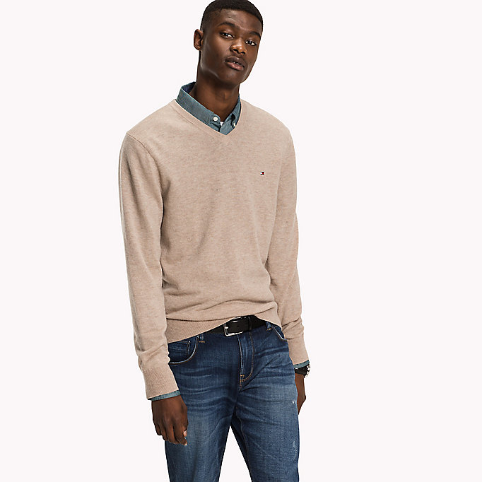 TOMMY HILFIGER Lambswool Jumper - CLOUD HTR - TOMMY HILFIGER Clothing - main image
