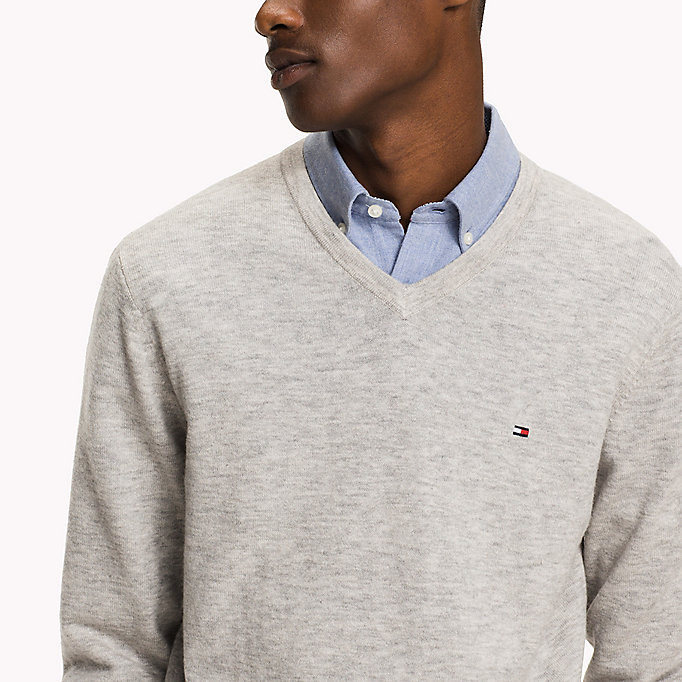 TOMMY HILFIGER Lambswool Jumper - ENSIGN BLUE HEATHER - TOMMY HILFIGER Clothing - detail image 2