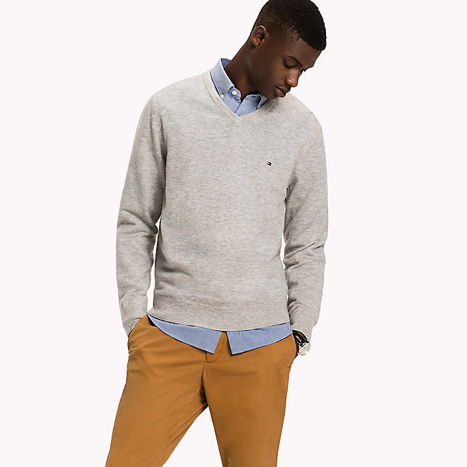 TOMMY HILFIGER Lambswool Jumper - ENSIGN BLUE HEATHER - TOMMY HILFIGER Clothing - main image