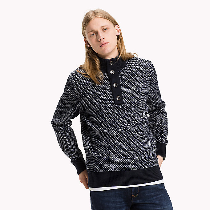 TOMMY HILFIGER Mock Neck Jumper - CHARCOAL HTR - TOMMY HILFIGER Clothing - main image