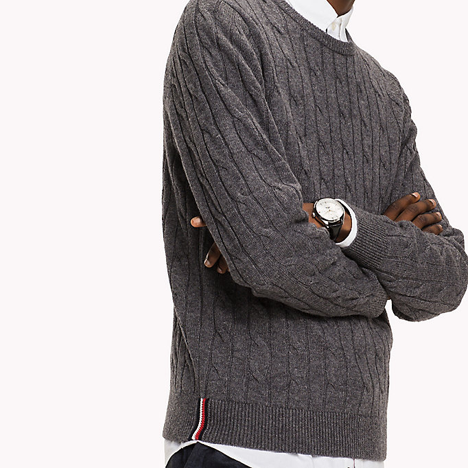 TOMMY HILFIGER Lambswool Cable Jumper - SKY CAPTAIN HEATHER - TOMMY HILFIGER Clothing - detail image 2