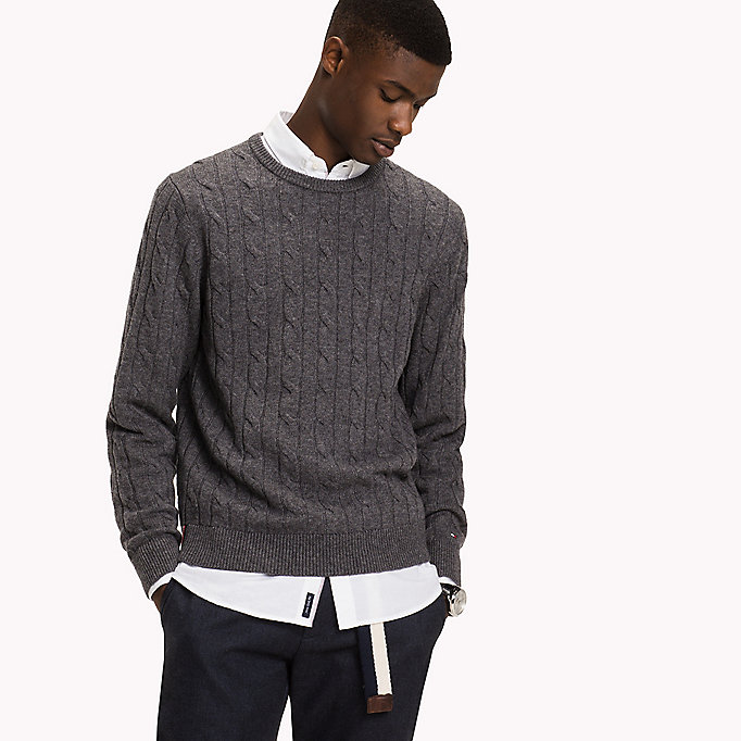 TOMMY HILFIGER Lambswool Cable Jumper - SKY CAPTAIN HEATHER - TOMMY HILFIGER Clothing - main image