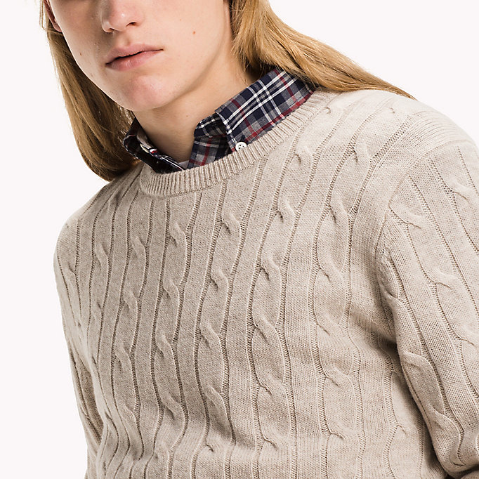 TOMMY HILFIGER Lambswool Cable Jumper - MAGNET HEATHER - TOMMY HILFIGER Clothing - detail image 2