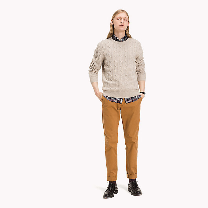 TOMMY HILFIGER Lambswool Cable Jumper - MAGNET HEATHER - TOMMY HILFIGER Clothing - main image