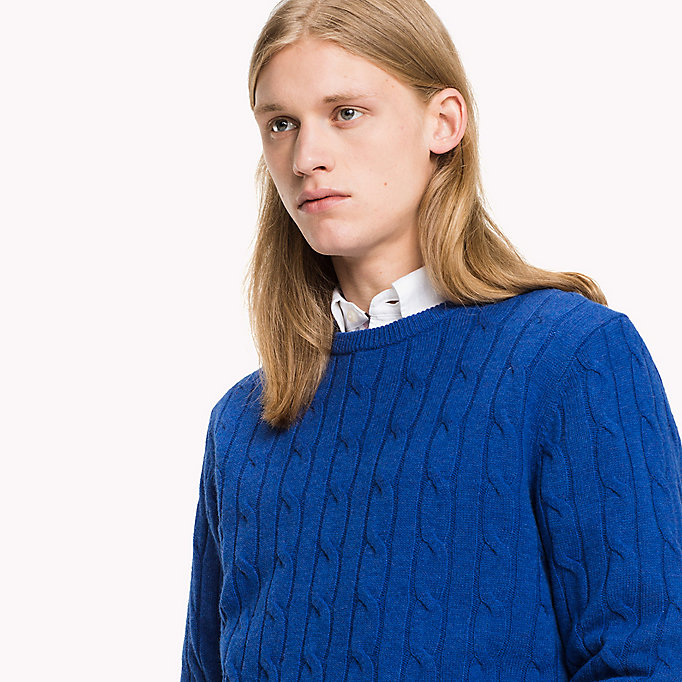 TOMMY HILFIGER Lambswool Cable Jumper - OYSTER GREY HTR - TOMMY HILFIGER Clothing - detail image 2