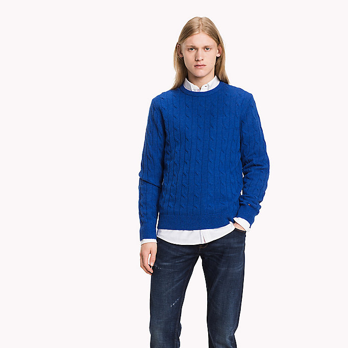 TOMMY HILFIGER Lambswool Cable Jumper - OYSTER GREY HTR - TOMMY HILFIGER Clothing - main image