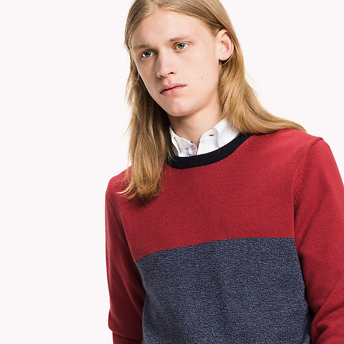 TOMMY HILFIGER Colourblock trui - PUREED PUMPKIN - TOMMY HILFIGER Kleding - detail image 2