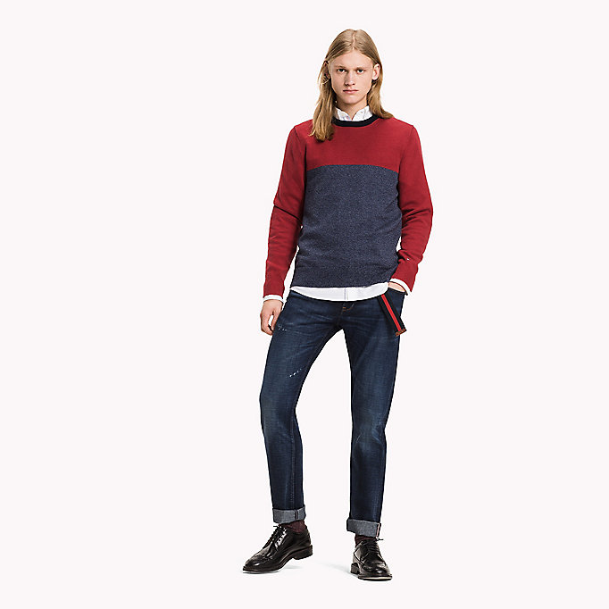 TOMMY HILFIGER Colour-Blocked Jumper - PUREED PUMPKIN - TOMMY HILFIGER Clothing - main image
