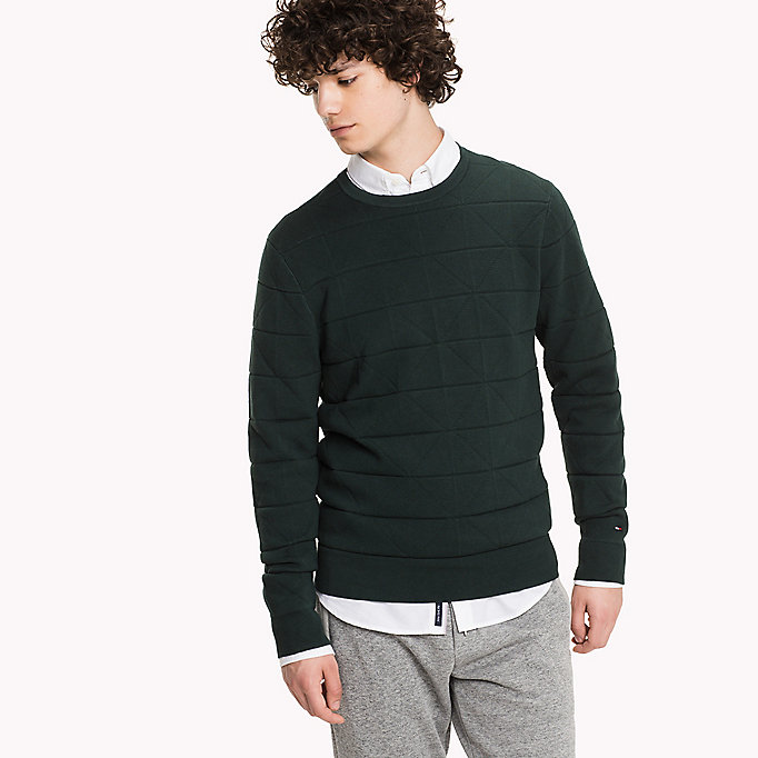 TOMMY HILFIGER Cotton Textured Jumper - STRING HEATHER - TOMMY HILFIGER Clothing - main image