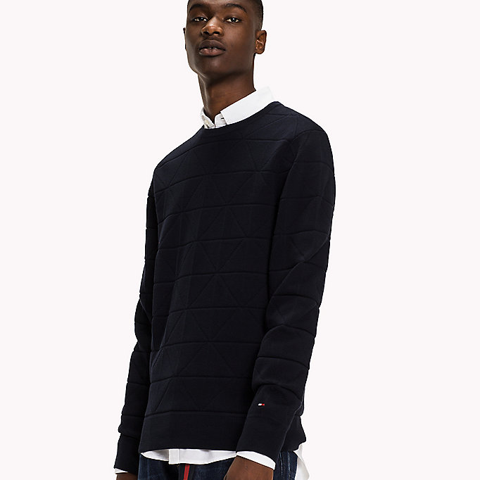 TOMMY HILFIGER Cotton Textured Jumper - DARKEST SPRUCE - TOMMY HILFIGER Clothing - detail image 2