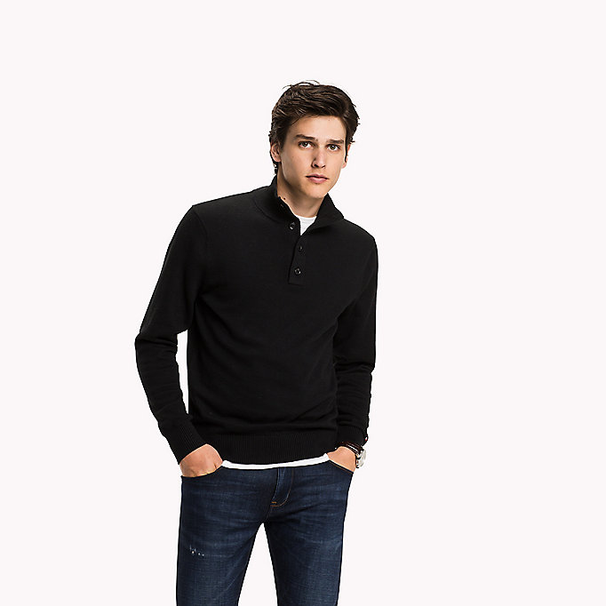 TOMMY HILFIGER Mock Neck Jumper - ENSIGN BLUE HEATHER - TOMMY HILFIGER Clothing - main image