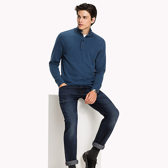 TOMMY HILFIGER Mock Neck Jumper - MONUMENT HEATHER - TOMMY HILFIGER Clothing - main image