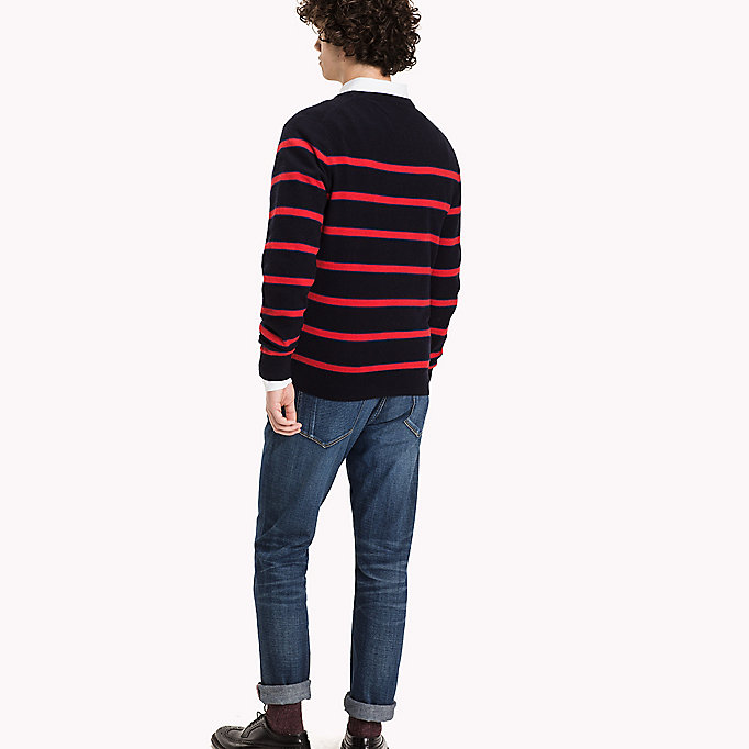 TOMMY HILFIGER Striped Wool Blend Jumper - SILVER FOG HTR - TOMMY HILFIGER Clothing - detail image 1
