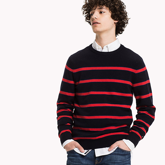 TOMMY HILFIGER Striped Wool Blend Jumper - SILVER FOG HTR - TOMMY HILFIGER Clothing - detail image 2