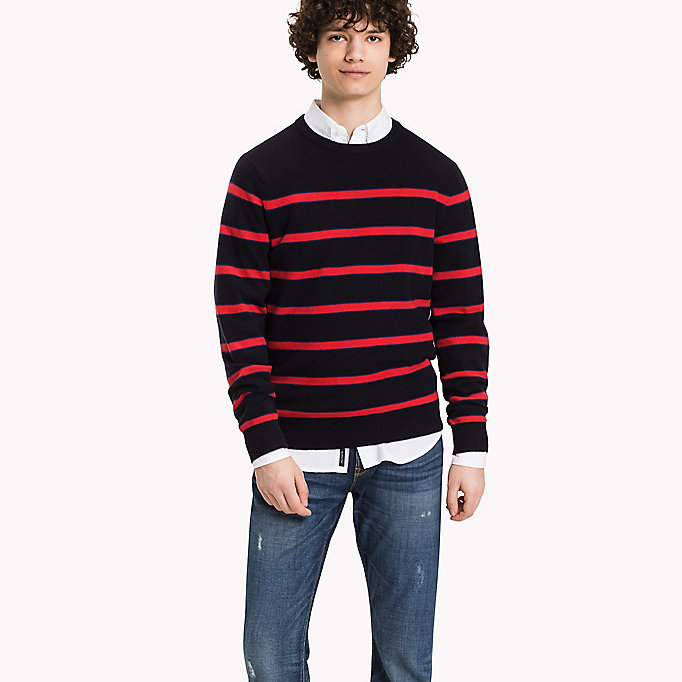 TOMMY HILFIGER Striped Wool Blend Jumper - SILVER FOG HTR - TOMMY HILFIGER Clothing - main image