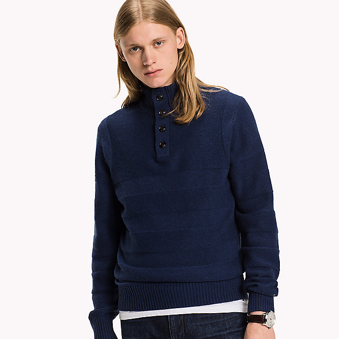 TOMMY HILFIGER Mock Neck Jumper - OYSTER GREY HTR - TOMMY HILFIGER Clothing - main image