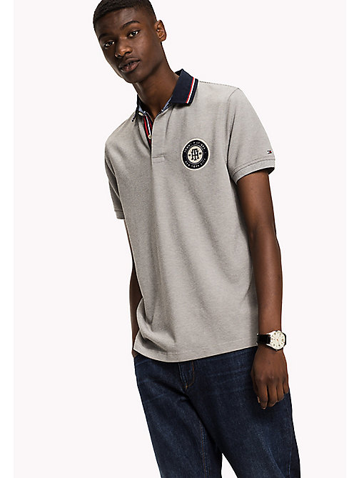 TOMMY HILFIGER Textured Slim Fit Polo - CLOUD HTR - TOMMY HILFIGER Polos - main image