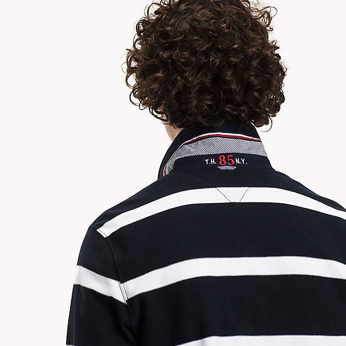 TOMMY HILFIGER Striped Rugby Shirt - HAUTE RED / SKY CAPTAIN - TOMMY HILFIGER Clothing - detail image 3