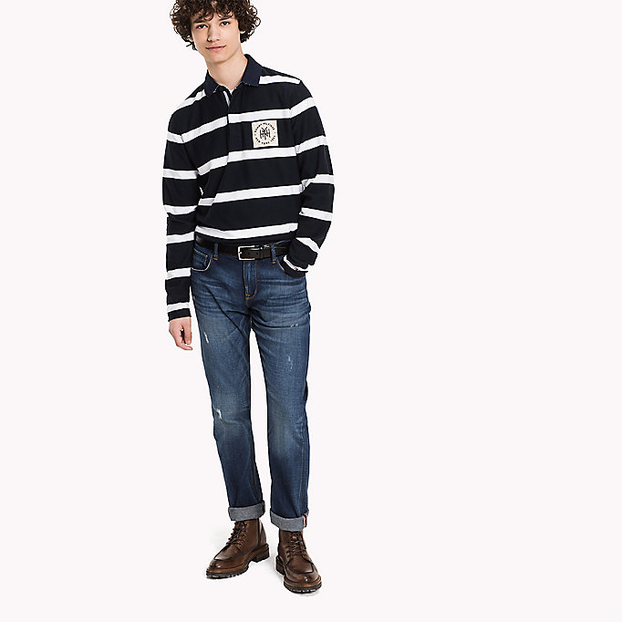 TOMMY HILFIGER Striped Rugby Shirt - HAUTE RED / SKY CAPTAIN - TOMMY HILFIGER Clothing - main image