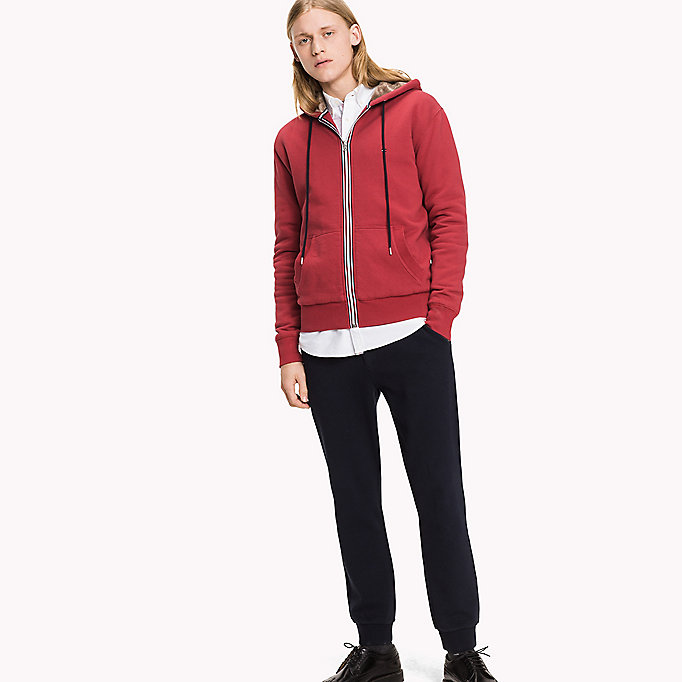 TOMMY HILFIGER Signature hoodie met rits - CLOUD HTR - TOMMY HILFIGER Kleding - main image