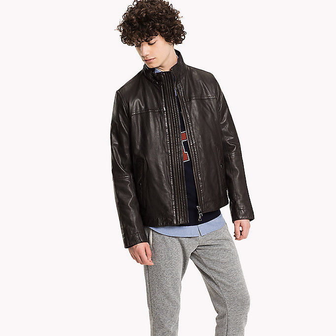 TOMMY HILFIGER Classic Leather Jacket - FLAG BLACK - TOMMY HILFIGER Clothing - main image