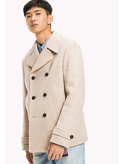 TOMMY HILFIGER Wool Blend Peacoat - BEIGE - TOMMY HILFIGER Coats & Jackets - main image