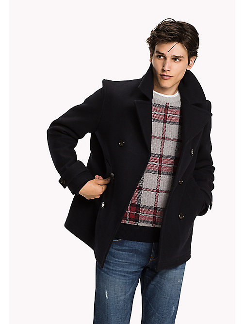 TOMMY HILFIGER Tartan Check Peacoat - SKY CAPTAIN - TOMMY HILFIGER Coats & Jackets - main image