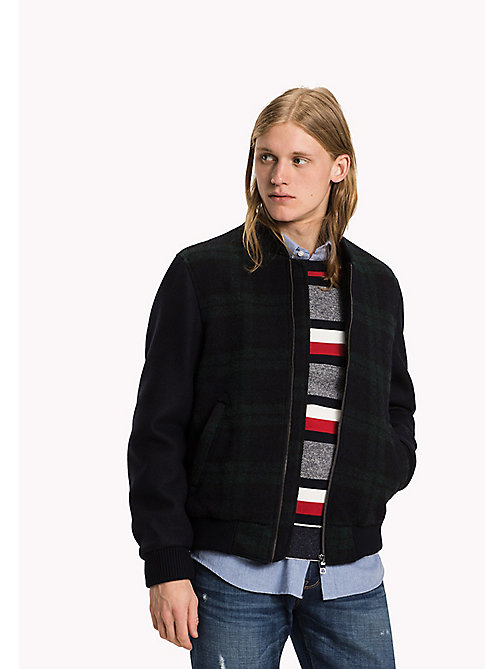 TOMMY HILFIGER Checked Wool Baseball Jacket - BLACKWATCH PRINT - TOMMY HILFIGER Coats & Jackets - main image