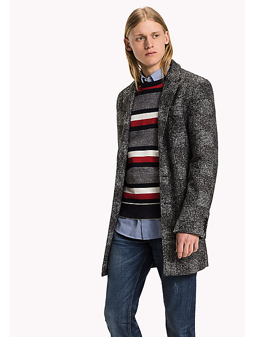 TOMMY HILFIGER Checked Bonded Jersey Coat - CHARCOAL HTR - TOMMY HILFIGER Coats & Jackets - main image