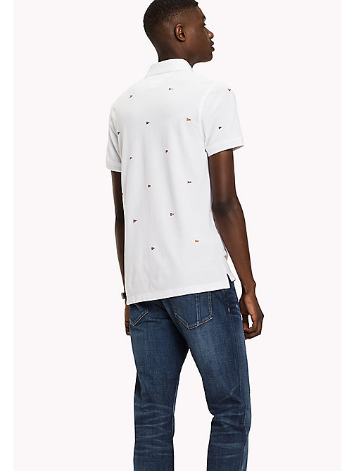 TOMMY HILFIGER Slim fit polo met vlagmotief - BRIGHT WHITE - TOMMY HILFIGER Polo's - detail image 1