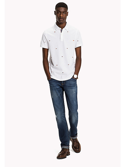 TOMMY HILFIGER Slim fit polo met vlagmotief - BRIGHT WHITE - TOMMY HILFIGER Polo's - main image