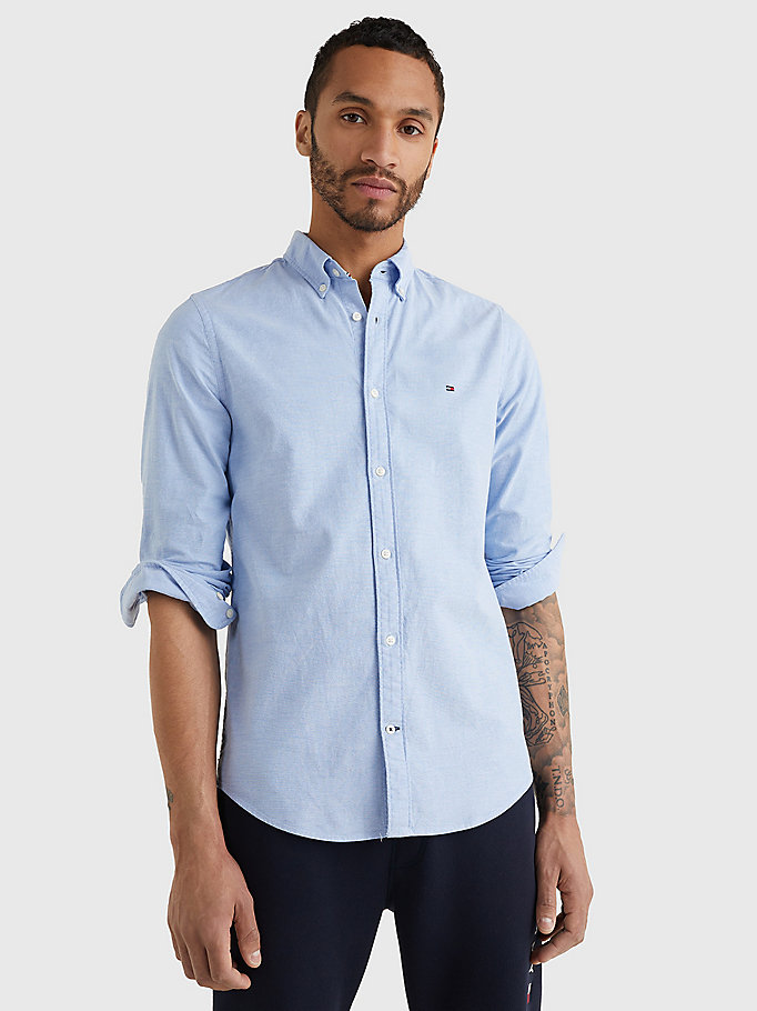 blau slim fit oxford-shirt für herren - tommy hilfiger