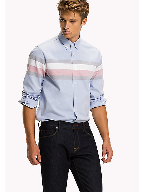 TOMMY HILFIGER Oxford Cotton Fitted Shirt - SHIRT BLUE / MULTI - TOMMY HILFIGER Shirts - main image