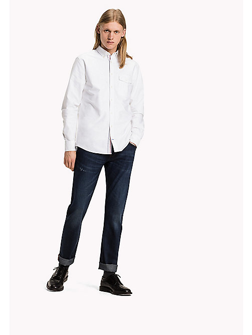 TOMMY HILFIGER Oxford Cotton Fitted Shirt - BRIGHT WHITE - TOMMY HILFIGER Shirts - main image