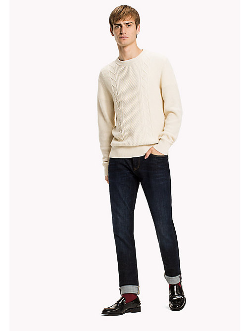 TOMMY HILFIGER Wool Blend Cable Knit  Jumper - SNOW WHITE - TOMMY HILFIGER Jumpers & Cardigans - main image