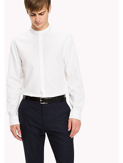 TOMMY HILFIGER Cotton Mandarin Collar Shirt - BRIGHT WHITE - TOMMY HILFIGER Shirts - main image