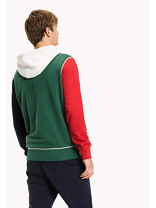 TOMMY HILFIGER Signature Colourblock Hoodie - SNOW WHITE / BARBADOS CHERRY / NAVY BLAZ - TOMMY HILFIGER TOMMY'S PADDOCK - detail image 1