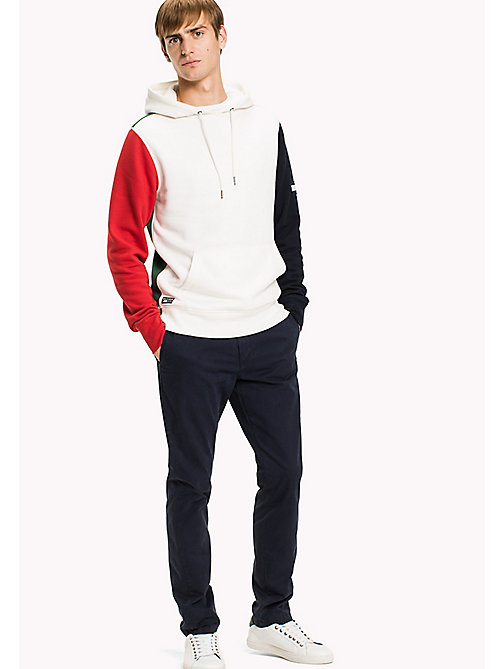 TOMMY HILFIGER Signature Colourblock Hoodie - SNOW WHITE / BARBADOS CHERRY / NAVY BLAZ - TOMMY HILFIGER TOMMY'S PADDOCK - main image